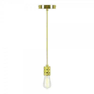 Závesný kovový luster v retro dizajne v zlatej farbe s pleteným drôtom