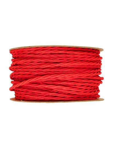 Kábel dvojžilový skrútený v podobe textilnej šnúry v červenej farbe, 2 x 0.75mm, 1 meter