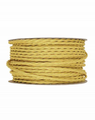 Kábel dvojžilový skrútený v podobe textilnej šnúry v žltej farbe, 2 x 0.75mm, 1 meter