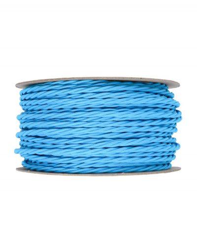 Kábel dvojžilový skrútený v podobe textilnej šnúry v modrej farbe, 2 x 0.75mm, 1 meter