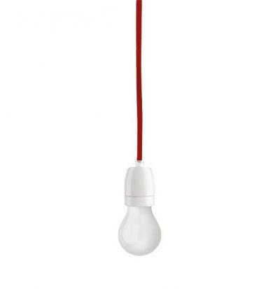 Porcelánové závesné svietidlo s textilným káblom v červenej farbe