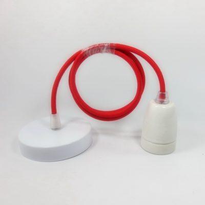 Porcelánové-závesné-svietidlo-s-textilným-káblom-v-červenej-farbe