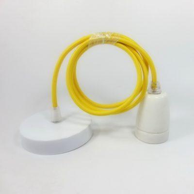 Porcelánové-závesné-svietidlo-s-textilným-káblom-v-žltej-farbe