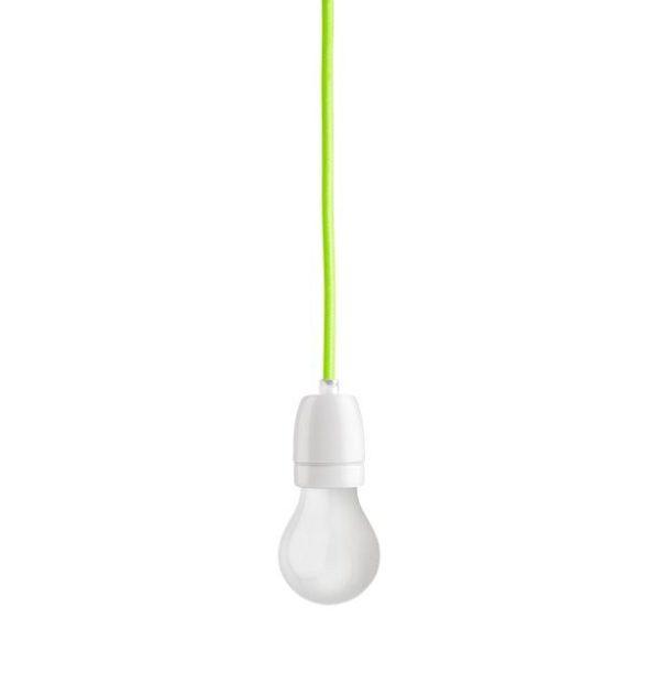 Porcelánové závesné svietidlo s textilným káblom v zelenej farbe