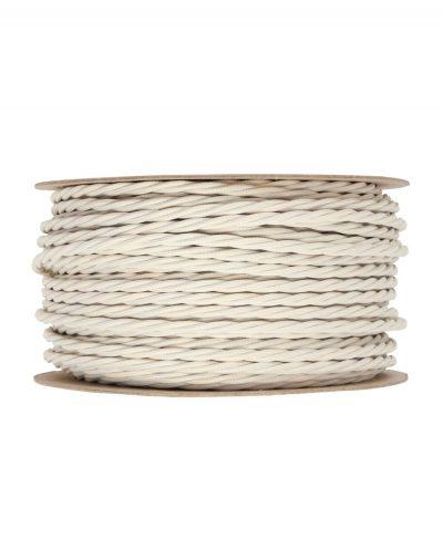 Kábel dvojžilový skrútený v podobe textilnej šnúry v ivory farbe, 2 x 0.75mm, 1 meter