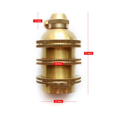 Masívna retro objímka E27 •  hliník • zlatá1
