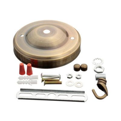 Stropný kovový držiak na svitidlo • so závesným hákom • staromosádzna1
