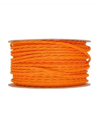 Kábel dvojžilový skrútený v podobe textilnej šnúry v neónovej pomarančovej farbe, 2 x 0.75mm, 1 meter