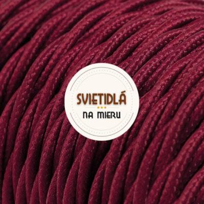 Kábel dvojžilový skrútený v podobe textilnej šnúry v tmavo červenej farbe, 2 x 0.75mm, 1 meter