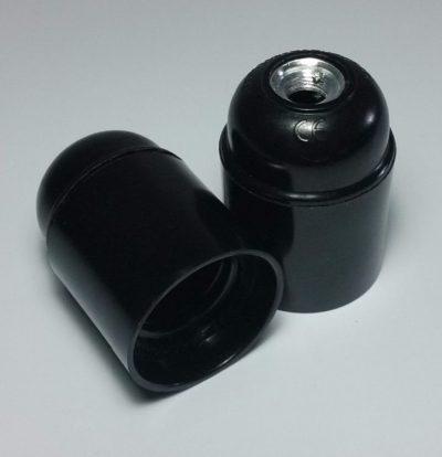 Lakovaná bakelitová objímka E26 • čierna (2)
