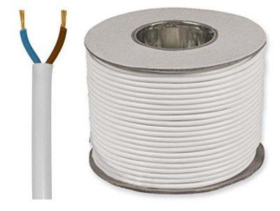 Kábel dvojžilový z PVC v bielej farbe, 2 x 0.75mm, 1 meter (1)