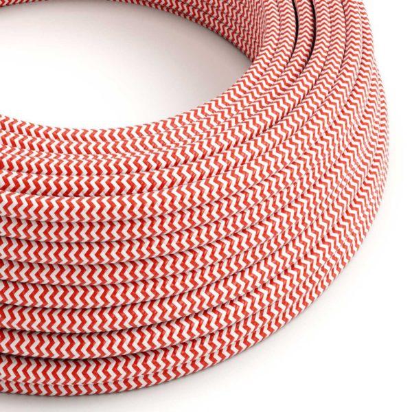 Kábel dvojžilový v podobe textilnej šnúry so vzorom Red/White, 2 x 0.75mm, 1 meter