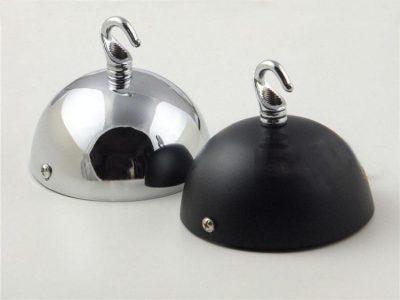 Stropný okrúhly kovový držiak na svietidlo • so závesným hákom  (3)