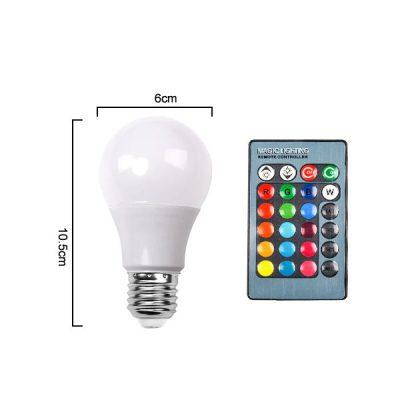 LED RGB žiarovka na diaľkové ovládanie, 16 funkcií, 3W, E27 (2)