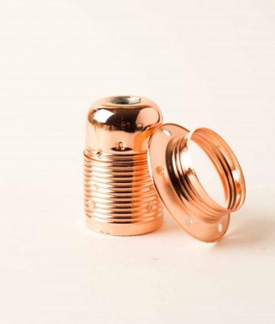 Masívna dekoračná objímka E27 • s okrasnou skrutkou •  kov • bronzová1