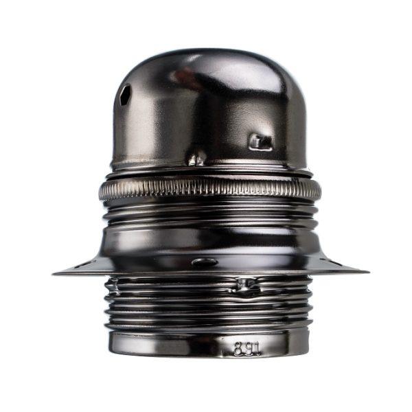 Masívna dekoračná objímka E27 • s okrasnou skrutkou • kov • čierna