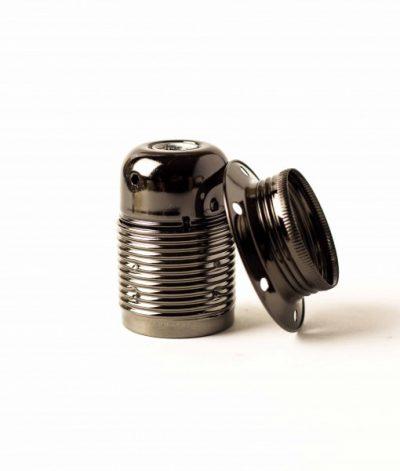 Masívna dekoračná objímka E27 • s okrasnou skrutkou •  kov • čierna1