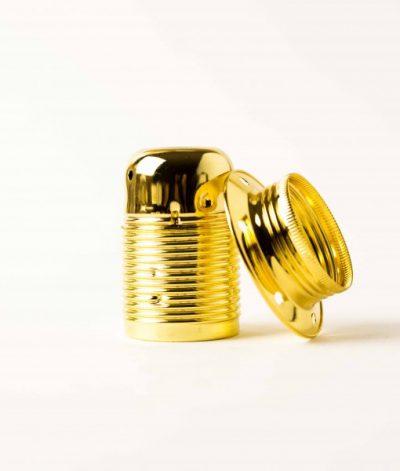 Masívna dekoračná objímka E27 • s okrasnou skrutkou •  kov • zlatá1