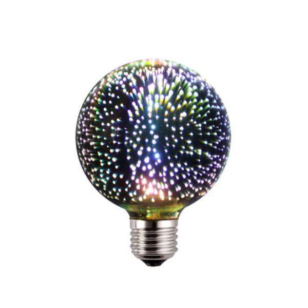 3D FIREWORKS, LED Dekoratívna žiarovka - Globus, E27, 5W, 100lm