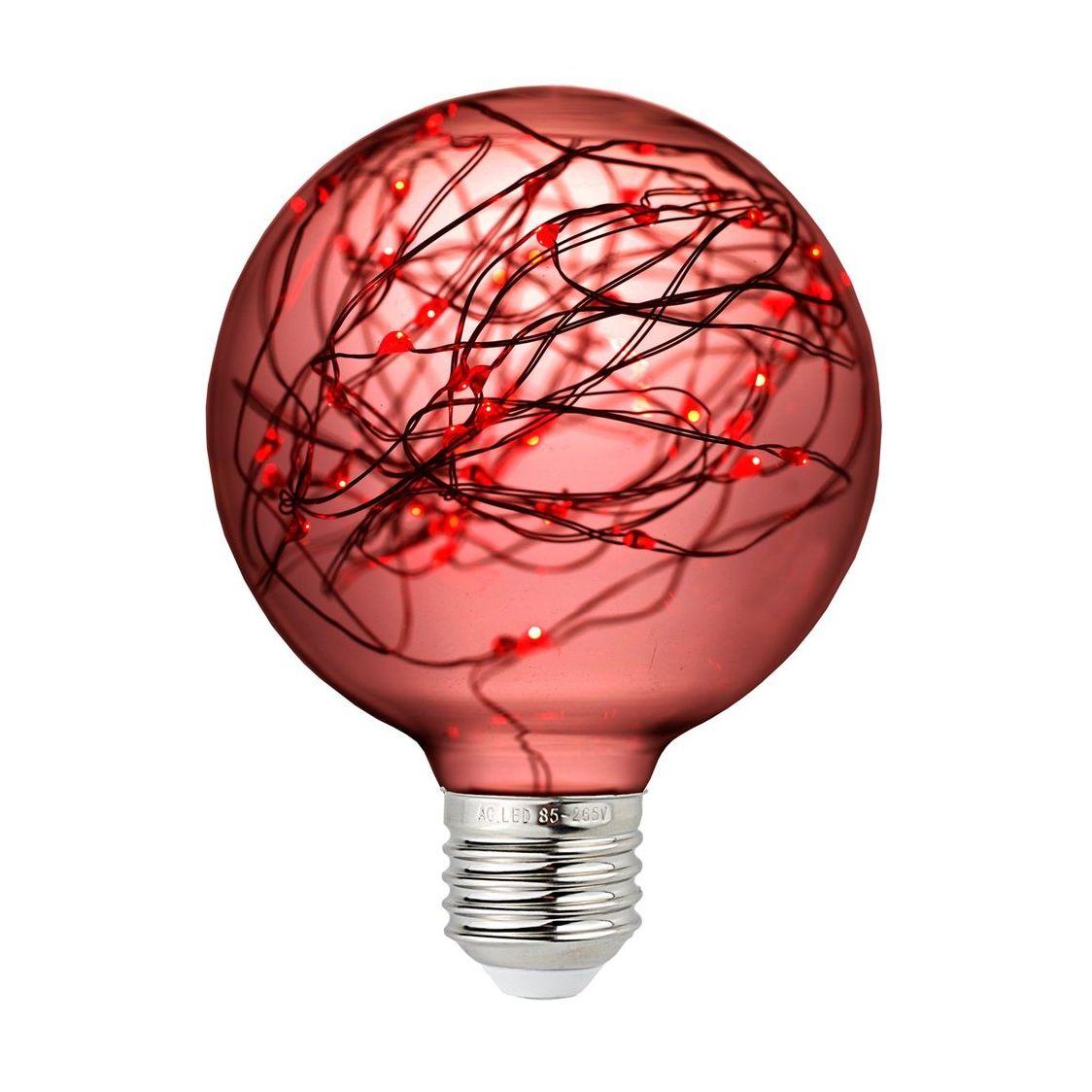 Dekoračná LED žiarovka EDISON, E27, 150lm, Globus, Červená