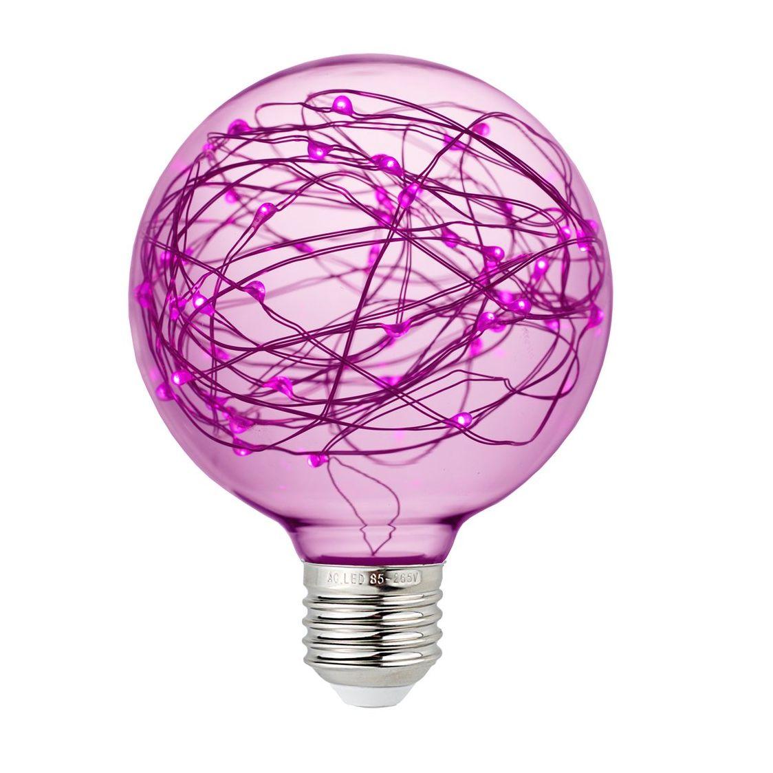Dekoračná LED žiarovka EDISON, E27, 150lm, Globus, Ružová