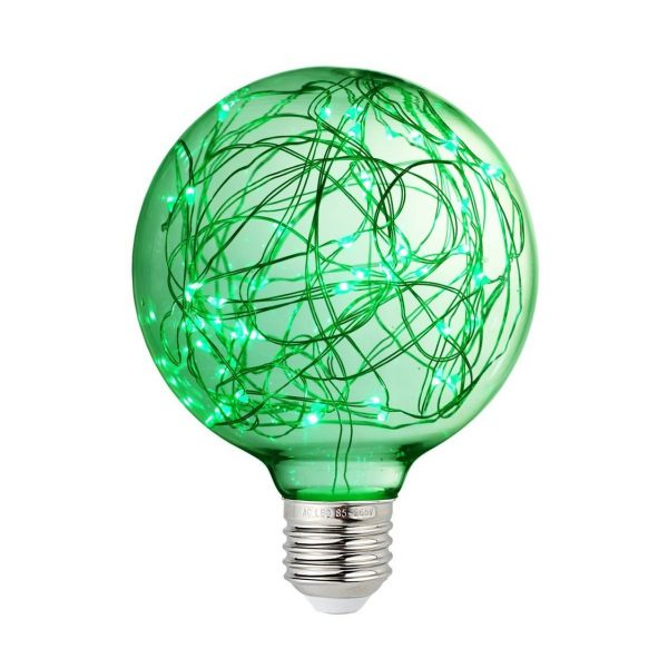 Dekoračná LED žiarovka EDISON, E27, 150lm, Globus, Zelená
