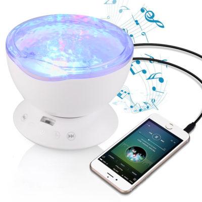 Farebný projektor morských vĺn, 7 morských farebných efektov + reproduktor, biela farba (11)