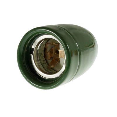 Kvalitná porcelánová objímka E27 • zelená (3)