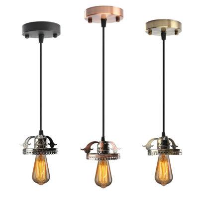 Závesná dekoračná lampa s čiernym káblom vo farbách