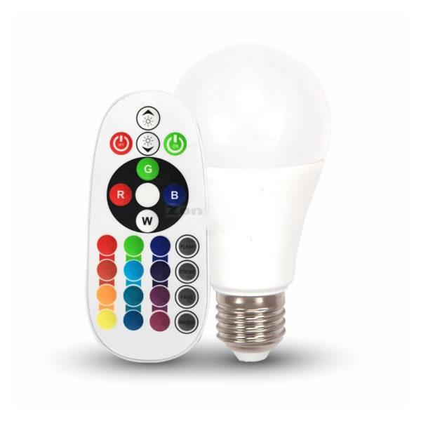 LED žiarovka na diaľkové ovládanie, E27, 6W, 2700K. Intenzitu svetla a farebnosť ovládate z diaľkového ovládača.