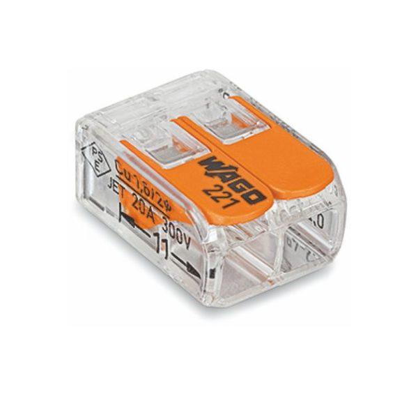 Lustrová svorka WAGO - dvojpólová. Testované v zhode s EN 60998 normou. Terminál (spojka) bez skrutiek pre spájanie elektrických káblov