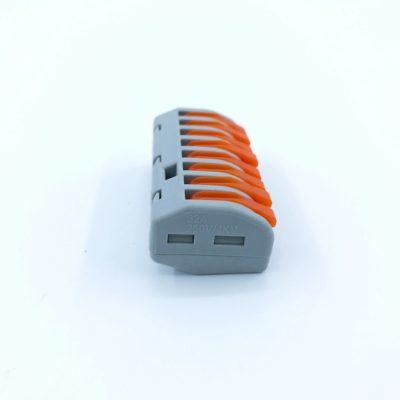 Lustrová svorka - osempólová. Testované v zhode s EN 60998 normou. Terminál (spojka) bez skrutiek pre spájanie elektrických káblov (1)