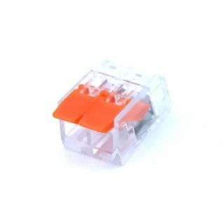 Svorka na káble - dvojpólová. Testované v zhode s EN 60998 normou. Terminál (spojka) bez skrutiek pre spájanie elektrických káblov