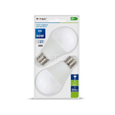 LED žiarovka, 3-krokové stmievanie, E27, 9W, 4000K, balenie 2 ks. Jedinečnážiarovka s funkciou stmievania aj bez vstavaného stmievača.