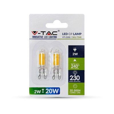 LED žiarovka - G9, 2W, Teplá biela, 230lm, 2ks retail balenie