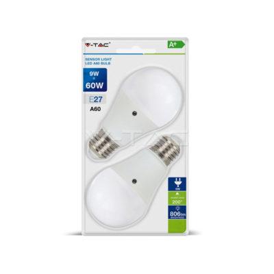 LED žiarovka so svetelným senzorom, E27, 9W, 6400K, balenie 2 ks