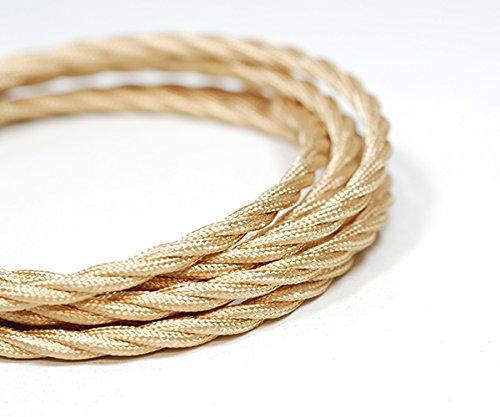 Kábel dvojžilový skrútený v svetlo zlatej farbe. Predstavujeme vám nádherné textilné káble v rôznych farbách a vzoroch.