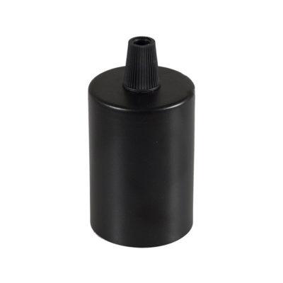 Čierna kovová krytka + E27 objímka + 1 držiak kábla (2)