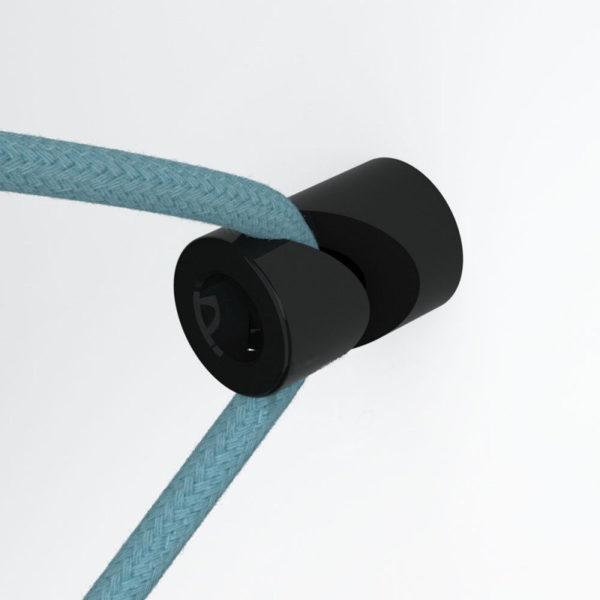 Decentralizér - stropný alebo nástenný háčik pre textilné káble v čiernej farbe (2)