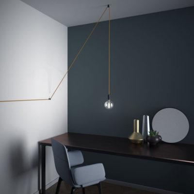 Decentralizér - stropný alebo nástenný háčik pre textilné káble v čiernej farbe (4)