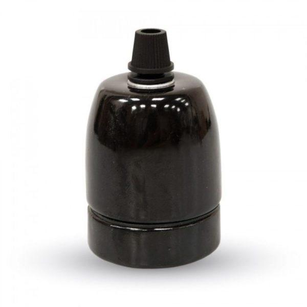 Porcelánová objímka E27 • čierna farba