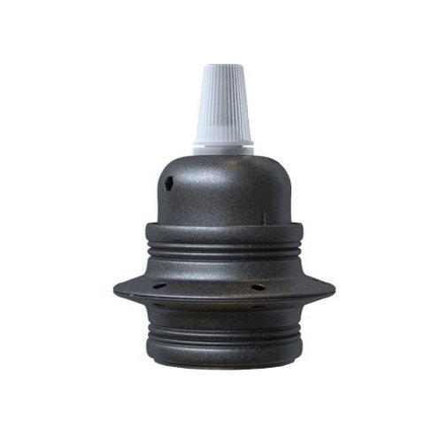 Kovová objímka E27 v metalickej šedej farbe