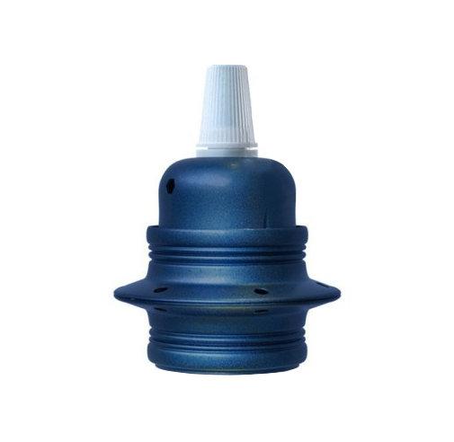 Kovová objímka E27 v metalickej modrej farbe