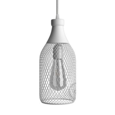 Moderná kovová veľká klietka v tvare fľaše, biela farba (2)