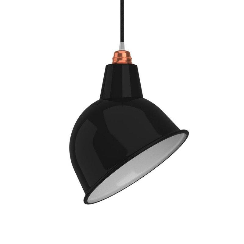 Priemyselné kovové tienidlo v lesklej čiernej farbe s bielym vnútrom, priemer 30cm (2)