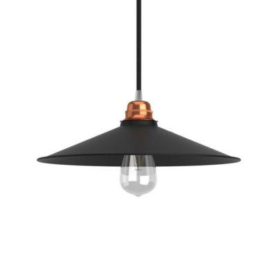 Retro kovové tienidlo v matnej čiernej farbe, priemer 30cm