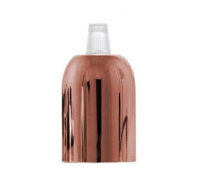 Ružovo zlatá kovová krytka + E27 biela objímka + 1 priehľadný držiak kábla (2)