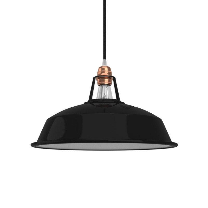 Vintage kovové tienidlo v lesklej čiernej farbe s bielym vnútrom, priemer 30cm (1)
