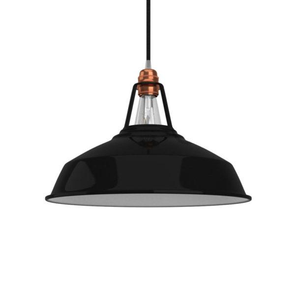 Vintage kovové tienidlo v lesklej čiernej farbe s bielym vnútrom, priemer 38cm (1)