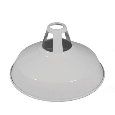 Vintage kovové tienidlo v lesklej bielej farbe s bielym vnútrom, priemer 30cm